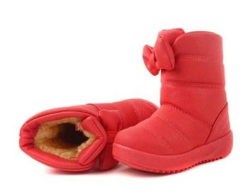 Toddler Girl Shoes Christmas Bowknot Red Winter Boots for Kids Size 4