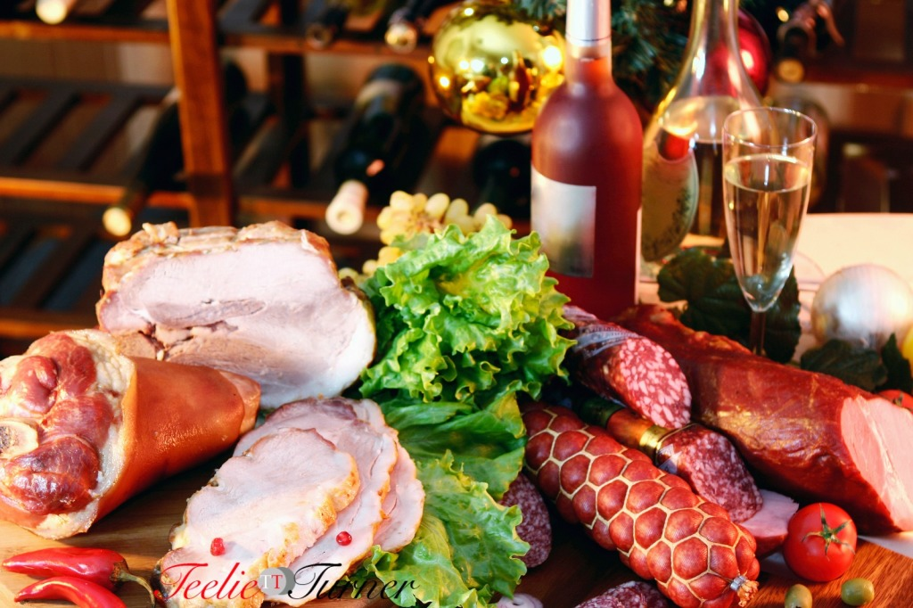 Christmas And New Year party table on wine rack background.