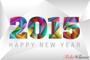 Happy New Year 2015 with happy colorful triangles background