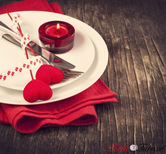Festive Table Setting For Valentine's Day With Fork, Knife And Hearts