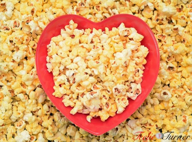 popcorn in heart sharp bowl for Valentine Day