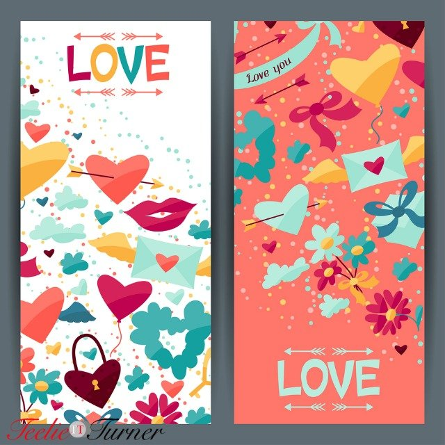 Banners design with Valentine's and Wedding icons.