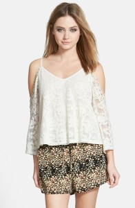 ASTR Cold Shoulder Lace Blouse