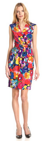Ellen Tracy Women's Sleeveless V-Neck Printed Dress