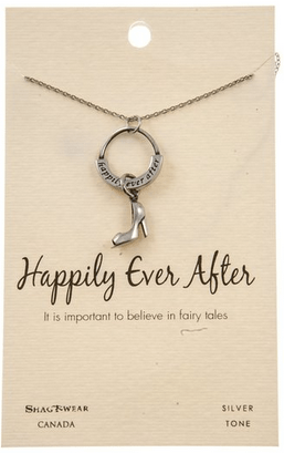 Happily Ever After Cinderella Shoe Charm Pendant Silver Tone Necklace