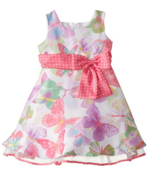 Jayne Copeland Little Girls' Butterfly Print Shantung