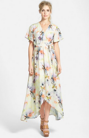 June & Hudson Floral Print High-Low Wrap Dress