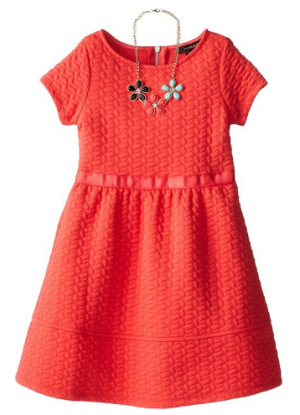 My Michelle Big Girls' Knit Skater Dress with Short Sleeves and Necklace