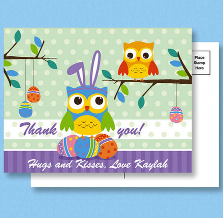 Owl Easter Thank you Postcards