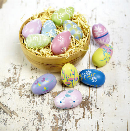 Pearlized Stripes and Flowers Painted Easter Eggs
