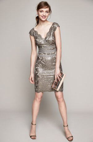 Tadashi Shoji Embellished Metallic Lace Sheath Dress