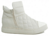 White Quilted Flat Boots with Side Closure