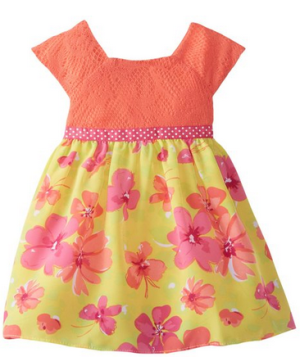 Youngland Baby-Girls' Infant Crochet and Hawaiian Floral-Print Dress