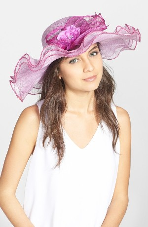 August Hat 'Azaela' Wide Brim Sinamay Derby Hat