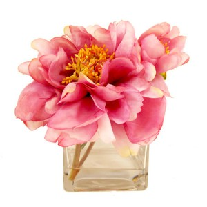 Faux Pink & Yellow Peony