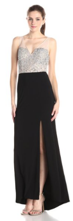 Hailey by Adrianna Papell Women's Sleeveless Illusion Beaded Top Gown