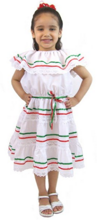 Leos Mexican Imports Girls Mexican Dress 3 Ribbons