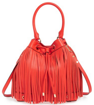 Milly 'Essex' Fringed Leather Bucket Bag