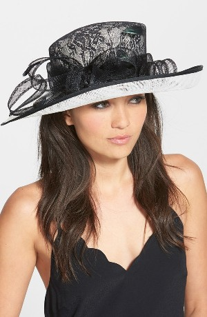 Sinamay Hat with Lace Cover Crown