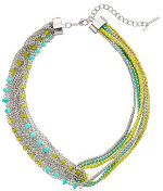 Steve Madden Color Blossom Mixed Chain Multi Cord Necklace