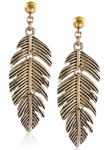 Steve Madden Tropical Punch Feather Drop Earrings