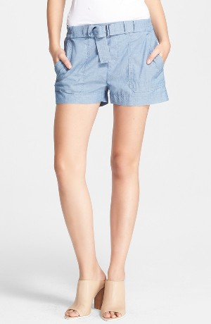 Vince Belted Chambray Shorts