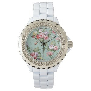 Vintage Elegant Pink Red Yellow Roses Pattern Wristwatch