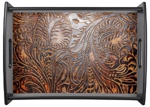 Western, Leather Look, Floral, Tooled Brown Print Serving Platter