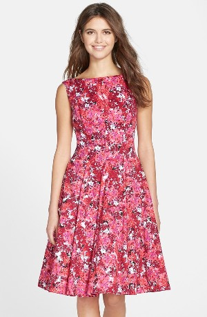 Maggy London Print Stretch Cotton Sateen Fit & Flare Dress