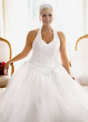 Tulle Ball Gown with Satin Beaded Halter Bodice Style