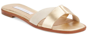 DIANE VON FURSTENBERG Komi Leather and Suede Slip-on Sandals