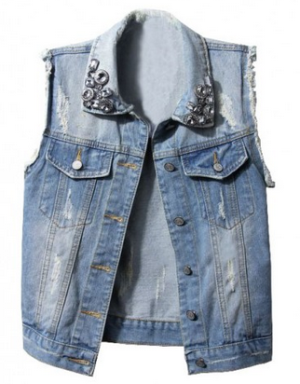 Distressed Denim Vests with Frayed Cuffs