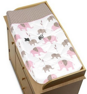 Elephant Pink Changing Pad Cover