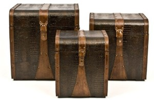 SET OF 3 WOODEN TRUNKS DESIGN BY SKALNY