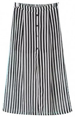 Striped Kick Pleat Skirt