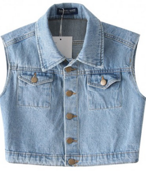 Vintage Lapel Collar Denim Vest