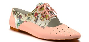 Shoes of Prey Floral Print Cutout Oxford