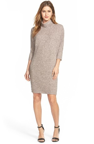 Bobeau Cowl Neck Shift Dress