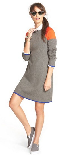 Eliza J Colorblock A-Line Sweater Dress