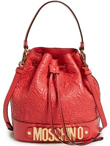 Moschino Embossed Letters Bucket Bag