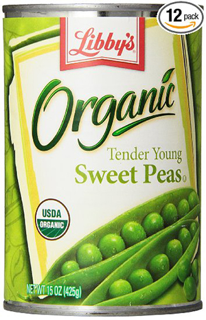 3. Libby's Organic Sweet Peas, 15-Ounces Cans