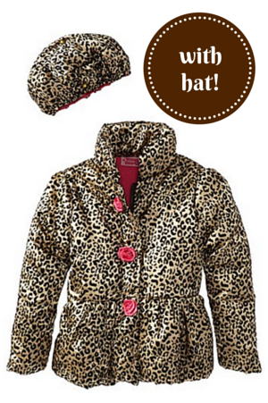 8. Young Hearts Little Girls' 2 Pieced Gold Leopard Jacket and Hat