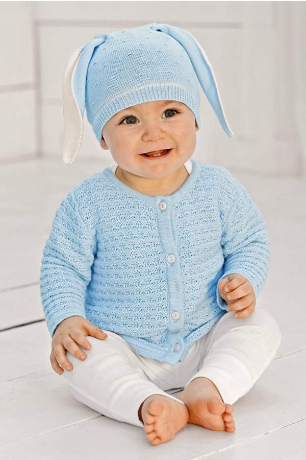0eaaa238d7d This baby blue outfit is just so adorable with bunny ears and a white  all-in-one. Shop the look  Mudpie Boys Bunny Hat from Shoptiques (exact  item!)