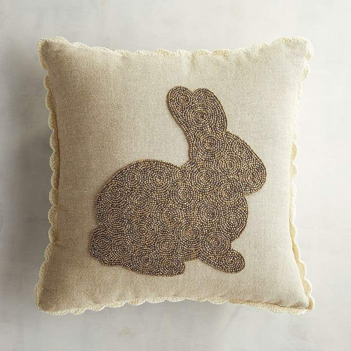 Beaded Golden Bunny Pillow