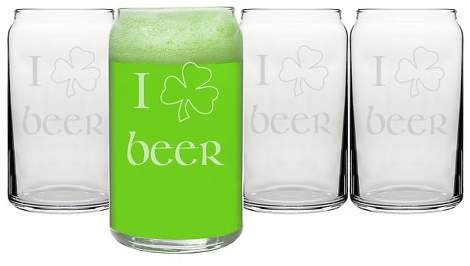 Cathy 4ct St. Patrick's Day Beer Can Glass