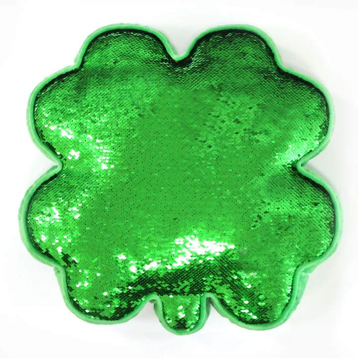Celebrate St. Patricks Day Together Celebrate St. Patrick's Day Together Clover Shaped Magic Sequin Throw Pillow