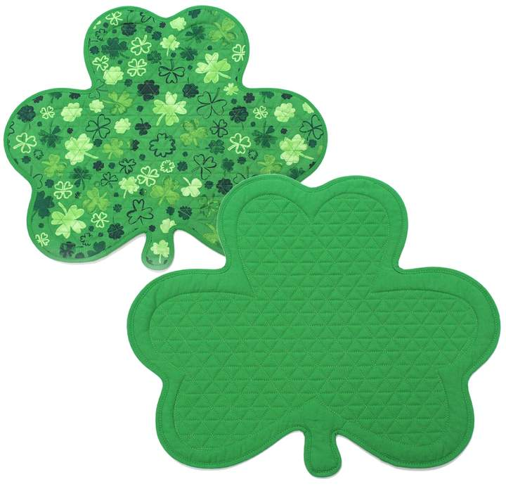 Celebrate St. Patricks Day Together Celebrate St. Patrick's Day Together Quilted Reversible Shamrock Placemat