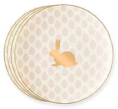 Gold Rim Easter Bunny Dessert Plates, Set Of 4