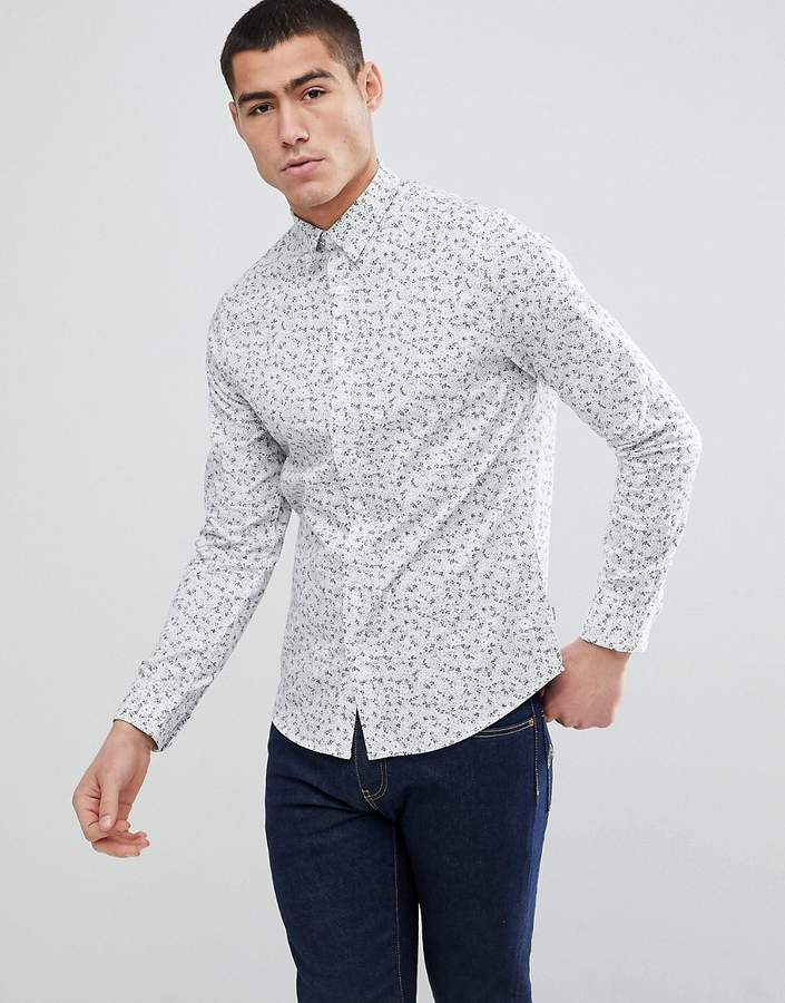 Only & Sons Slim Fit Shirt With Ditsy Print