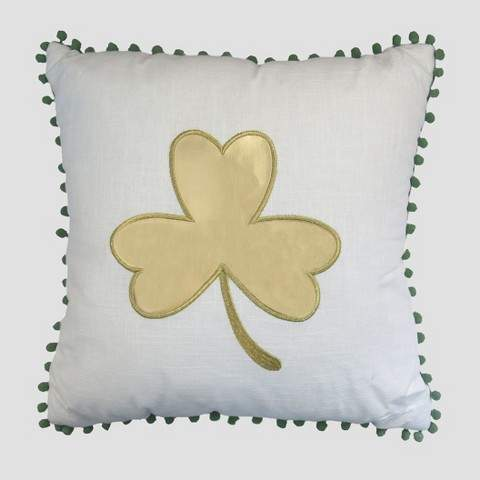 Threshold Cloverleaf Throw Pillow WhiteGreen